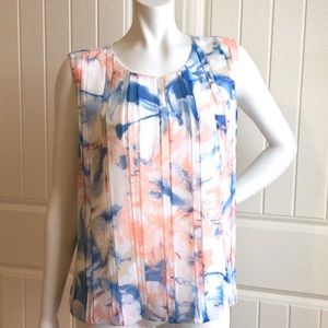 Calvin Klein Sleeveless Front Pleats Print Top